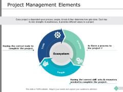 Project Management Elements Ppt PowerPoint Presentation Layouts Format Ideas