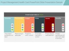 Project Management Health Card Powerpoint Slide Presentation Sample