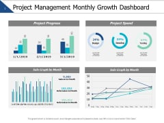Project Management Monthly Growth Dashboard Marketing Ppt PowerPoint Presentation Model Slide Download