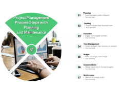 Project Management Process Steps With Planning And Maintenance Ppt PowerPoint Presentation Summary Infographics PDF