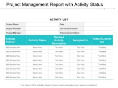 Project Management Report With Activity Status Ppt PowerPoint Presentation Pictures Designs Download Cpb