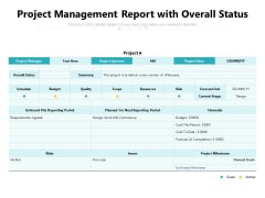 Project Management Report With Overall Status Ppt PowerPoint Presentation File Outline PDF