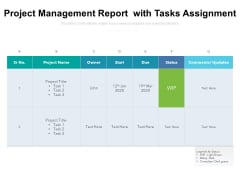 Project Management Report With Tasks Assignment Ppt PowerPoint Presentation Gallery Microsoft PDF