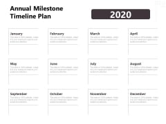 Project Management Timeline Annual Milestone Timeline Plan Ppt Inspiration Clipart Images PDF