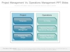 Project Management Vs Operations Management Ppt Slides