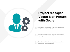 Project Manager Vector Icon Person With Gears Ppt PowerPoint Presentation Infographics Background