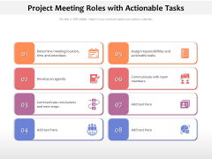 Project Meeting Roles With Actionable Tasks Ppt PowerPoint Presentation Gallery Background PDF