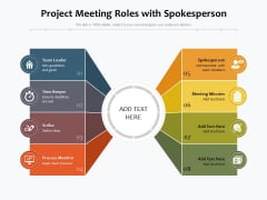 Project Meeting Roles With Spokesperson Ppt PowerPoint Presentation File Graphics PDF