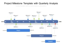 Project Milestone Template With Quarterly Analysis Ppt PowerPoint Presentation Infographics Deck PDF