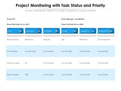 Project Monitoring With Task Status And Priority Ppt PowerPoint Presentation File Infographic Template PDF