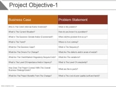 Project Objective Template 1 Ppt PowerPoint Presentation Ideas