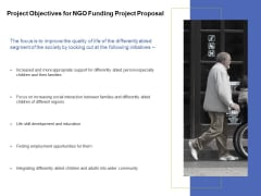 Project Objectives For NGO Funding Project Proposal Ppt PowerPoint Presentation Outline Graphic Images