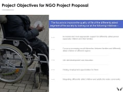 Project Objectives For Ngo Project Proposal Ppt Powerpoint Presentation Styles Model