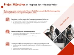 Project Objectives Of Proposal For Freelance Writer Ppt PowerPoint Presentation Visual Aids Background Images PDF