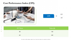 Project Performance Metrics Cost Performance Index CPI Ppt Summary Clipart Images PDF