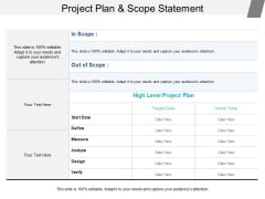 Project Plan And Scope Statement Ppt PowerPoint Presentation Styles Tips