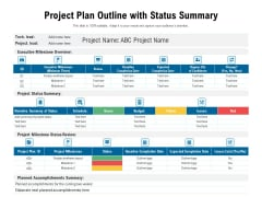 Project Plan Outline With Status Summary Ppt PowerPoint Presentation File Diagrams PDF