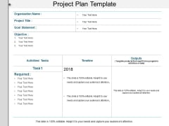 Project Plan Template Ppt PowerPoint Presentation Layouts Objects