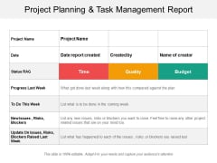 Project Planning And Task Management Report Ppt PowerPoint Presentation Ideas Backgrounds