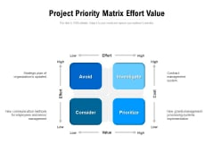 Project Priority Matrix Effort Value Ppt PowerPoint Presentation File Styles PDF