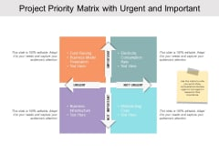 Project Priority Matrix With Urgent And Important Ppt PowerPoint Presentation Model Styles