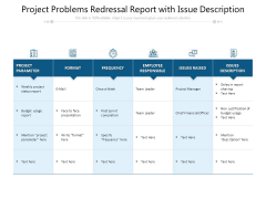 Project Problems Redressal Report With Issue Description Ppt PowerPoint Presentation File Model PDF