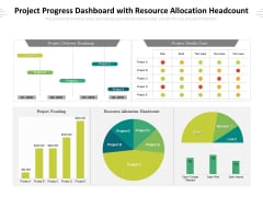 Project Progress Dashboard With Resource Allocation Headcount Ppt PowerPoint Presentation Gallery Themes PDF
