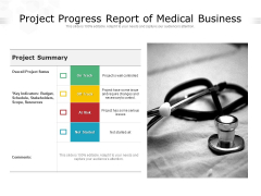 Project Progress Report Of Medical Business Ppt PowerPoint Presentation Icon Pictures PDF