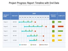Project Progress Report Timeline With End Date Ppt PowerPoint Presentation Icon Backgrounds PDF