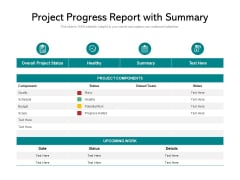Project Progress Report With Summary Ppt PowerPoint Presentation Gallery Good PDF