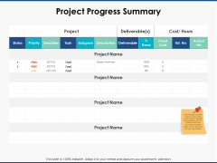 Project Progress Summary Planning Ppt PowerPoint Presentation Model Background Image