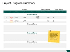 Project Progress Summary Ppt PowerPoint Presentation Outline Example