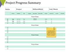 Project Progress Summary Ppt PowerPoint Presentation Outline Layouts