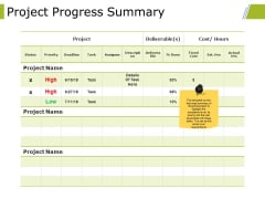 Project Progress Summary Ppt PowerPoint Presentation Professional Rules