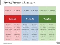 Project Progress Summary Template 1 Ppt PowerPoint Presentation Styles