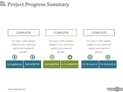 Project Progress Summary Template 2 Ppt PowerPoint Presentation Inspiration