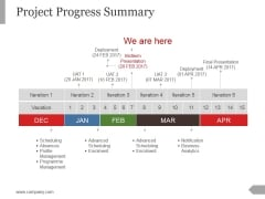 Project Progress Summary Template 2 Ppt PowerPoint Presentation Model