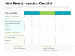 Project Quality Management Plan Initial Project Inspection Checklist Guidelines PDF