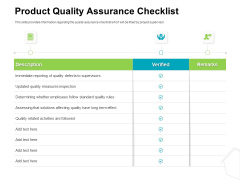 Project Quality Management Plan Product Quality Assurance Checklist Ppt Model Background Designs PDF