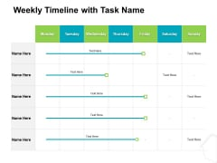 Project Quality Management Plan Weekly Timeline With Task Name Designs PDF