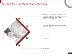 Project Quality Planning And Controlling Agenda For Project Quality Planning And Controlling Diagrams PDF