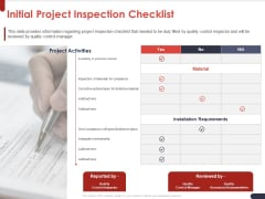 Project Quality Planning And Controlling Initial Project Inspection Checklist Mockup PDF