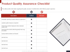 Project Quality Planning And Controlling Product Quality Assurance Checklist Ppt Pictures Example PDF