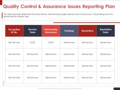 Project Quality Planning And Controlling Quality Control And Assurance Issues Reporting Plan Clipart PDF