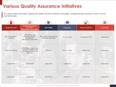 Project Quality Planning And Controlling Various Quality Assurance Initiatives Brochure PDF