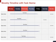 Project Quality Planning And Controlling Weekly Timeline With Task Name Diagrams PDF
