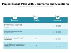 Project Recall Plan With Comments And Questions Ppt PowerPoint Presentation Infographics Background Images PDF