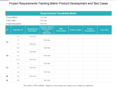Project Requirements Tracking Matrix Product Development And Test Cases Ppt PowerPoint Presentation Outline File Formats