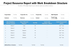 Project Resource Report With Work Breakdown Structure Ppt PowerPoint Presentation Topics PDF