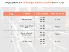 Project Schedule Of AV Design And Installation Services Ppt PowerPoint Presentation Ideas Designs Download